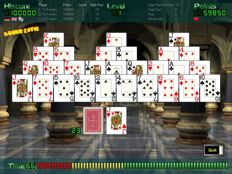 The cardgame Fun-Towers is a popular cardgame. 24 levels , sequence bonus, ...